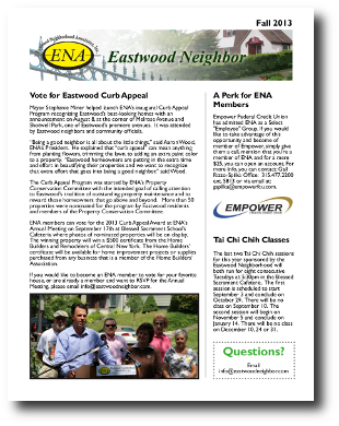 Eastwood Neighbor Fall 2013 Newsletter