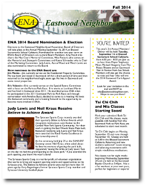 Eastwood Neighbor Fall 2014 Newsletter