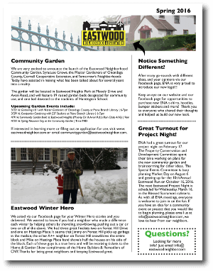 Eastwood Neighbor Spring 2016 Newsletter