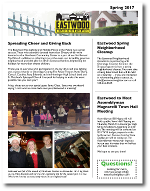 Eastwood Neighbor Spring 2017 Newsletter